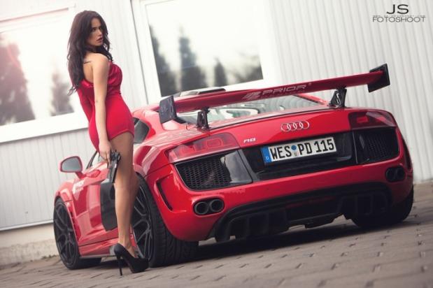 Audi r8 red hot women